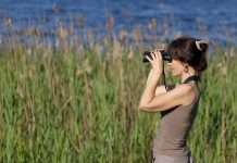 mujer mirando por prismaticos