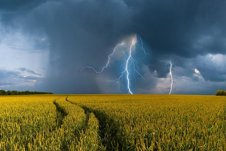 La tormenta en el campo es una buena pista para la orientación sin brújula. /Shutterstock