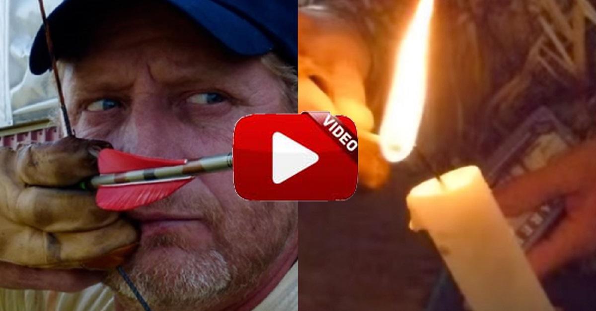 Apaga la llama de dos velas en movimiento ¡disparando con su arco!