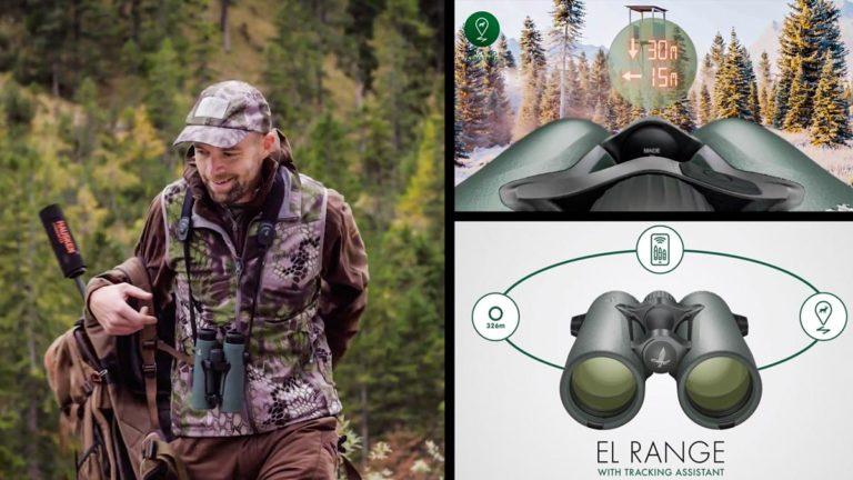 Un cazador con los prismáticos Swarovski EL Range con asistente de pisteo.