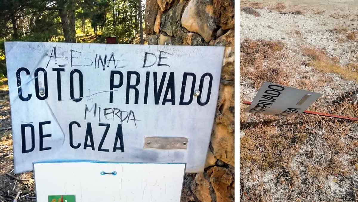 Animalistas destrozan más de 200 chapas de un coto de caza en Albacete