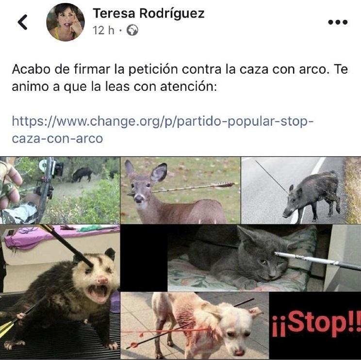 Teresa Rodríguez, líder de Podemos Andalucía, pide acabar con la caza con arco