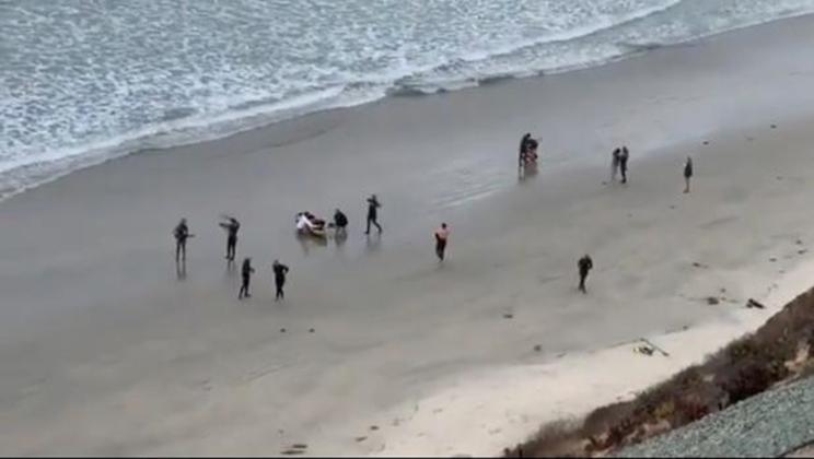 Bañistas acudieron en ayuda del niño que había sido atacado por un tiburón / Fotografía: Twitter