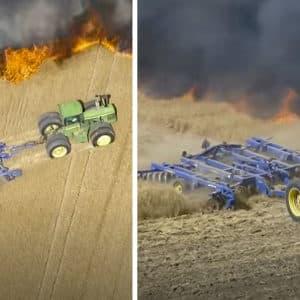 Un agricultor intenta salvar su cosecha de un voraz incendio a la desesperada
