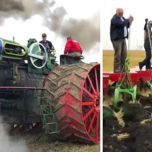 Este tractor de vapor de 1904 capaz de arar con 36 vertederas deja atónitos a los agricultores