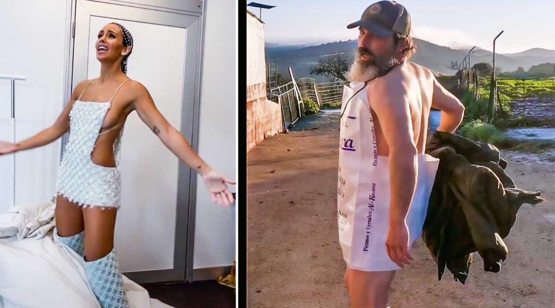 Un ganadero 'versiona' el vestido de Cristina Pedroche en Nochevieja con un saco de pienso para cerdos