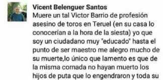 150.000 personas piden el cese del profesor animalista que se burla de la muerte de Víctor Barrio